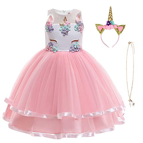 URAQT Robe Licorne Enfant de Princesse, Robes Fille, Robe de